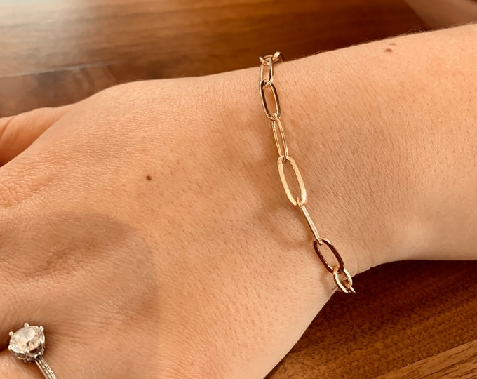 14k gold paperclip chain bracelet, chunky, simple, elongated