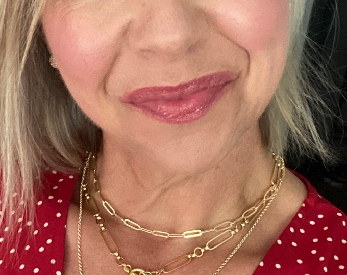 14k gold paperclip chain necklace, layering, chunky, elongated