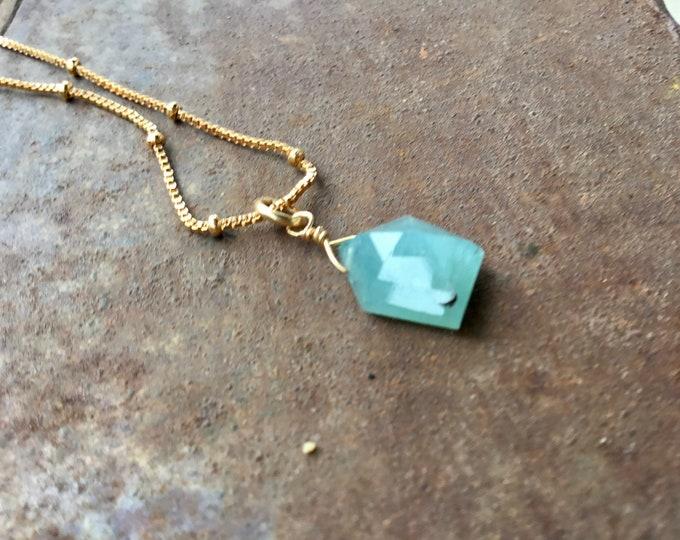 Rare grandidierite fancy cut pendant necklace on 24k gold fill satellite ball chain