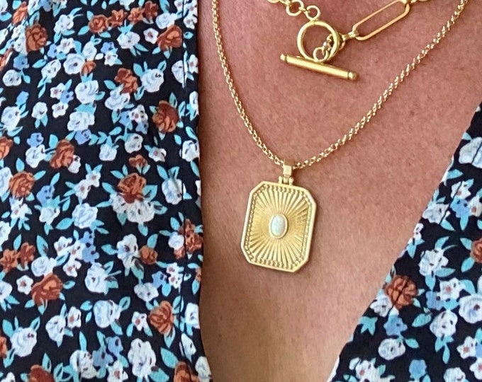 18k gold filled opal pendant necklace, tag, octagon, rectangular on 14k gold rolo chain,layering