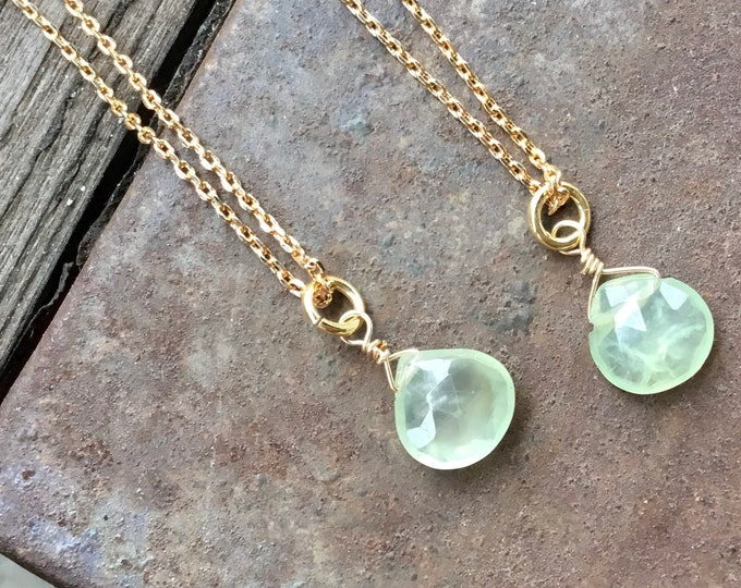 Green amethyst faceted pendant necklace on 18k gold filled dainty chain