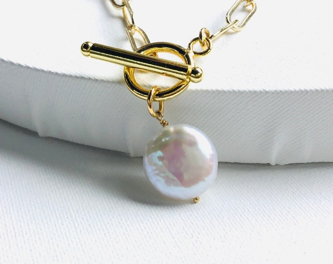 AAA freshwater pearl smooth coin pendant on 14k gold paperclip chain necklace, toggle clasp, layering, chunky, elongated