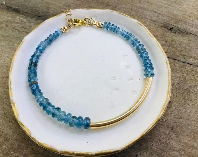 Moss aquamarine smooth rondelles 14k gold fill curved bar clasp bracelet