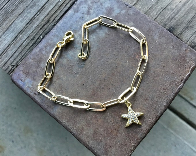 14k gold paperclip chain bracelet with pave starfish, simple, elongated