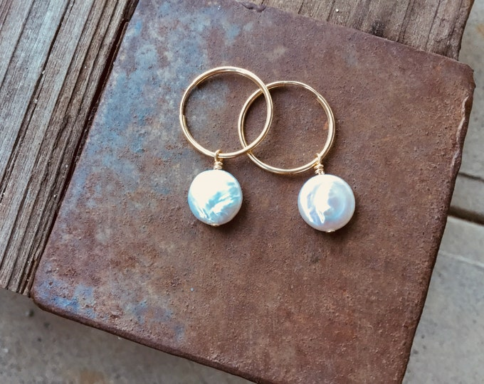 AA coin pearl endless hoop 14k gold filled earrings, minimalistic