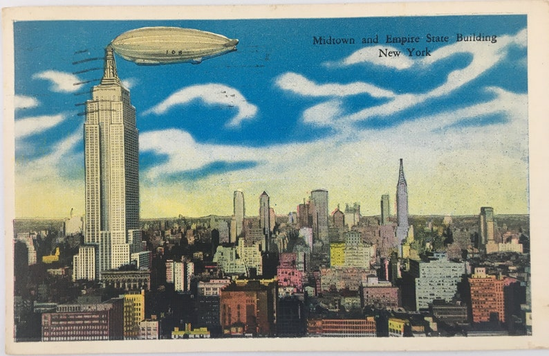 Airship over NYC Postcard