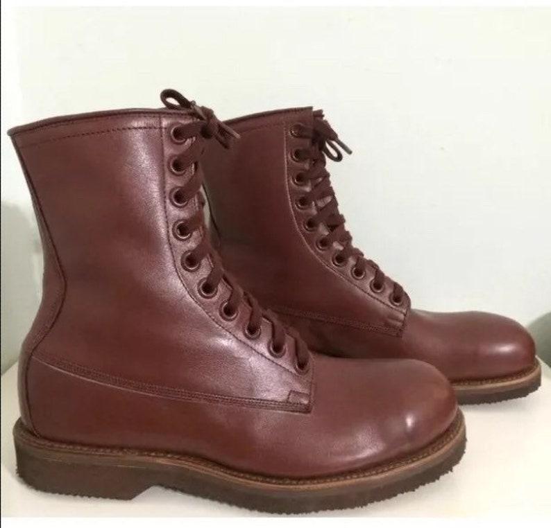 Vintage 1961 Combat military boot steel toe John Addison Lace up  DA-36-243-QM Dark Brown 8M