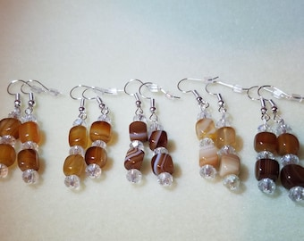Botswana Agate with Austrian Crystal Earrings