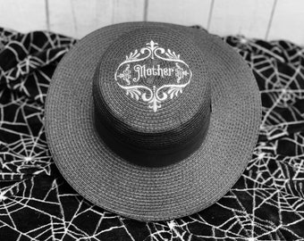 Victorian Mother Mourning Straw Hat Goth Summer Spooky Black