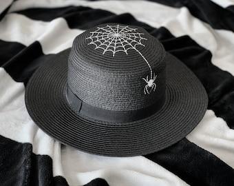 Spider Spiderweb Straw Hat Goth Summer Spooky Black