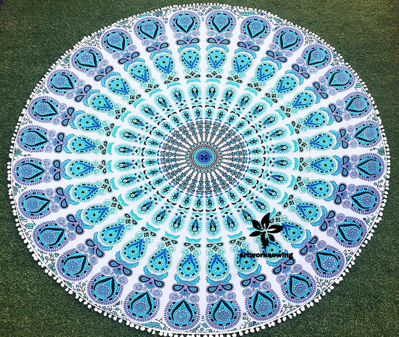 56  Psychedelic Without Tassels Peacock Mandala Printed Design Round Tapestry Hippie Towel Cloth Beach Home /& Garden Decorative Yoga Mat