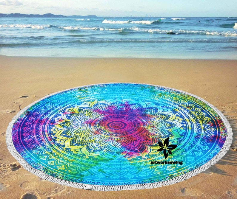 56  Inch Blue Ombre Tie Dye Indian Round Tapestry Throw Table Cloth Picnic Beach Blanket Ethnic Bohemian Pure Cotton Tapestry