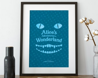 Alice in Wonderland, art print, Cheshire cat, bookish, wall art prints, wall art, wall decor, home decor, art prints, Victorian, gift