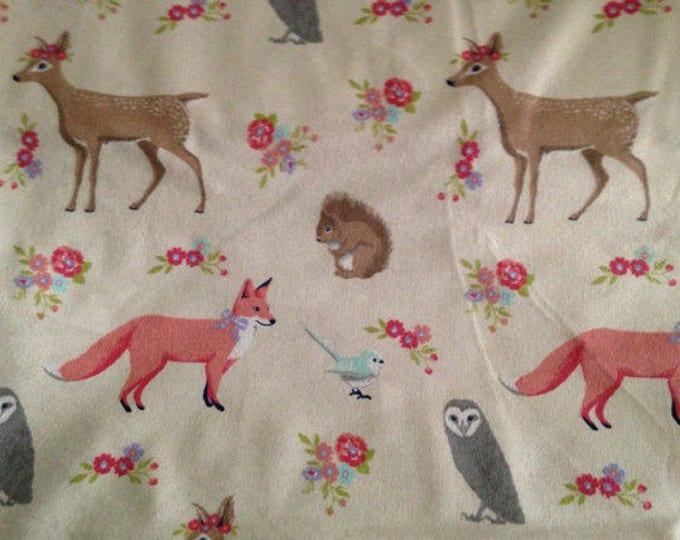 Nursery Wildlife Flannel Fabric by the Yard
