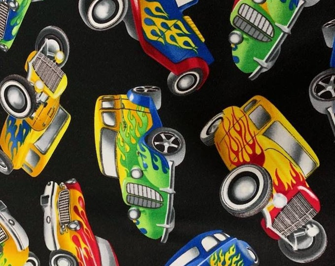 Hot Rods Cotton Fabric by the Yard