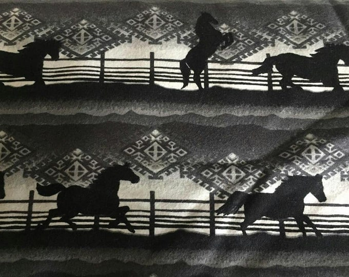 Grey Scale Horse Flannel Fabric by the Yard