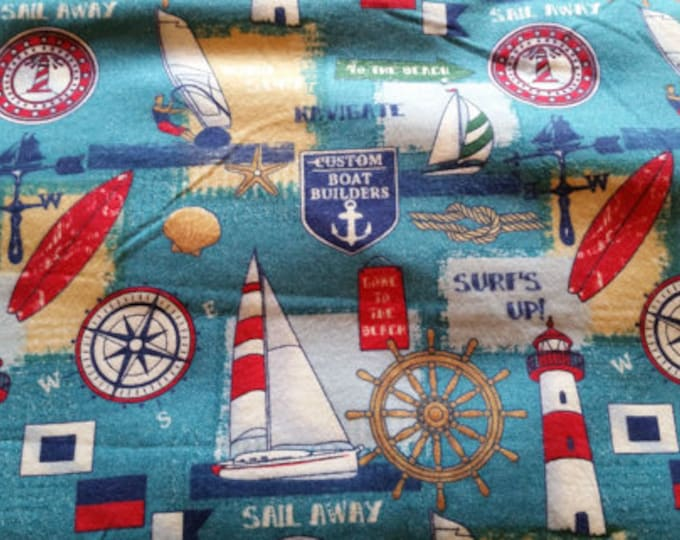 Sail Away Flannel Fabric by the Yard