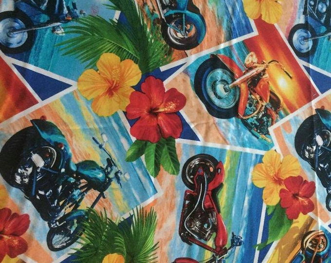 Chopper Motorcycle Cotton Fabric by the Yard
