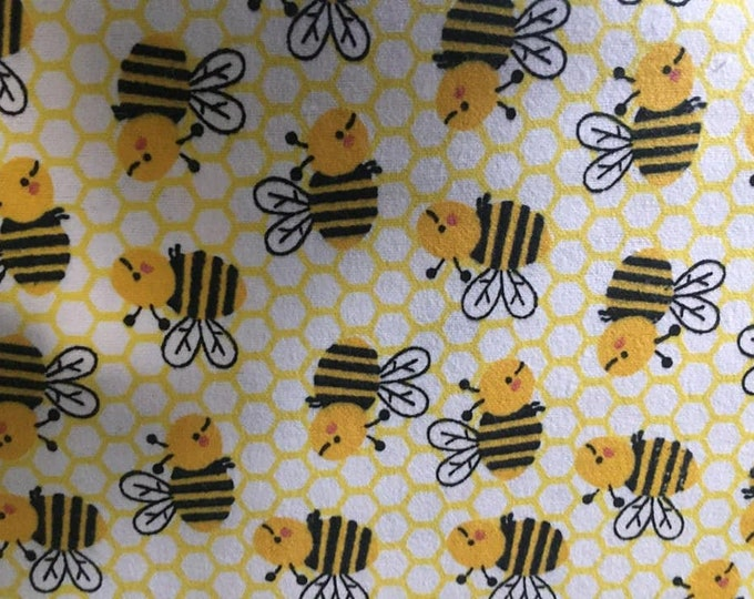 Nursery Bubble Bee Flannel Fabric by the Yard