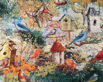 Spring Morning Birds Cotton Fabric by the Yard