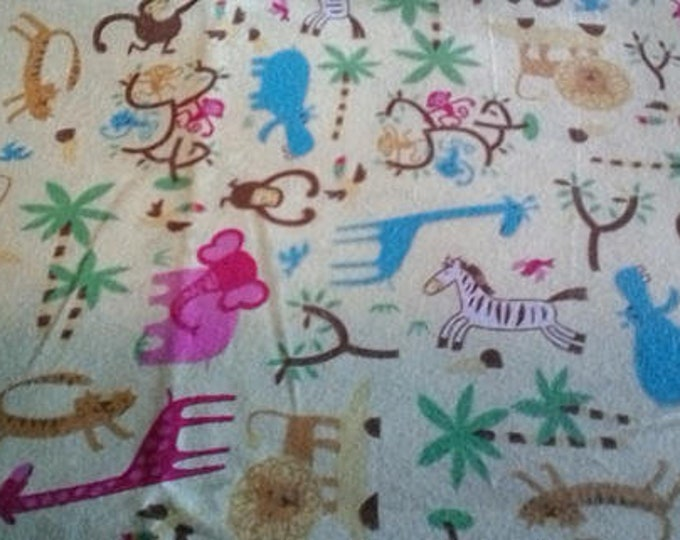 Nursery Baby Animals Safari Collage Flannel Fabric by the Yard