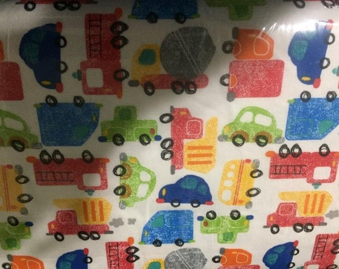 Heavy Equipment and Cars Flannel Fabric by the Yard