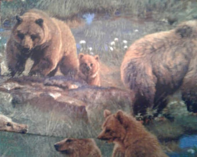 Grizzly Bears Cotton Fabric by the Yard