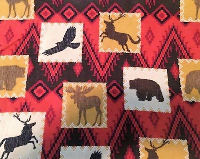Wildlife Western Flannel Fabric by the Yard