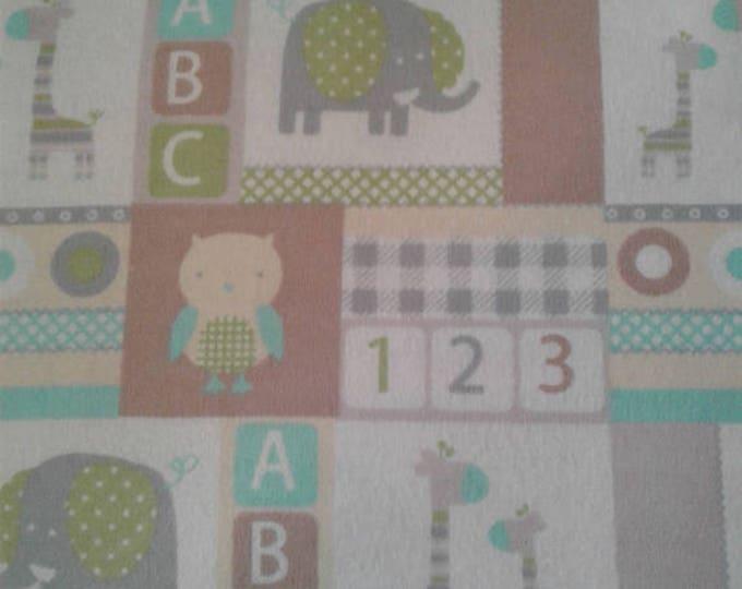 Nursery Baby Animals Flannel Fabric by the Yard