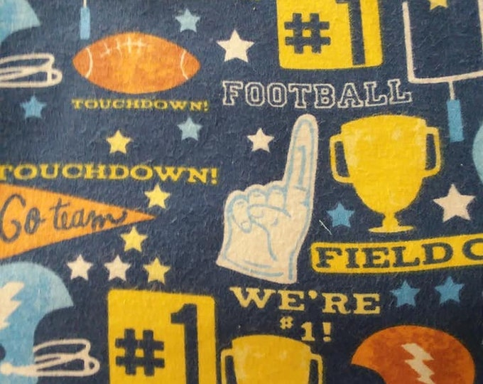 Football Flannel Fabric by the Yard