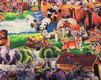 Noah's Ark Cotton Fabric by the Yard