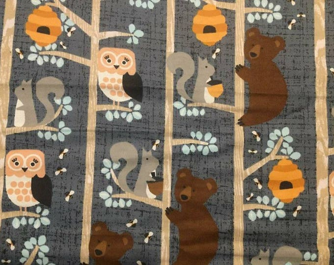 Wildlife in Trees Flannel Fabric by the Yard
