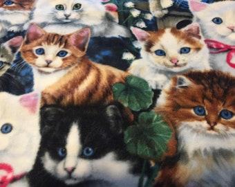 Kitten Collage Fleece Fabric by the Yard