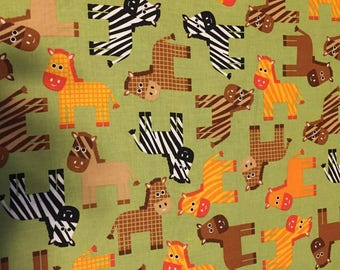 Nursery Zebra Cotton Fabric by the Yard