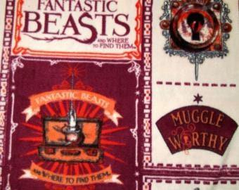 Fantastic Beasts Fleece Fabric by the Yard