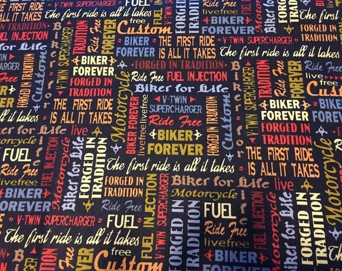 Motocross Words Cotton Fabric by the Yard
