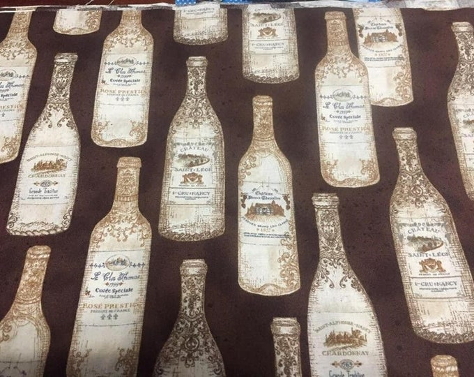 Vintage Bottles Cotton Fabric by the Yard