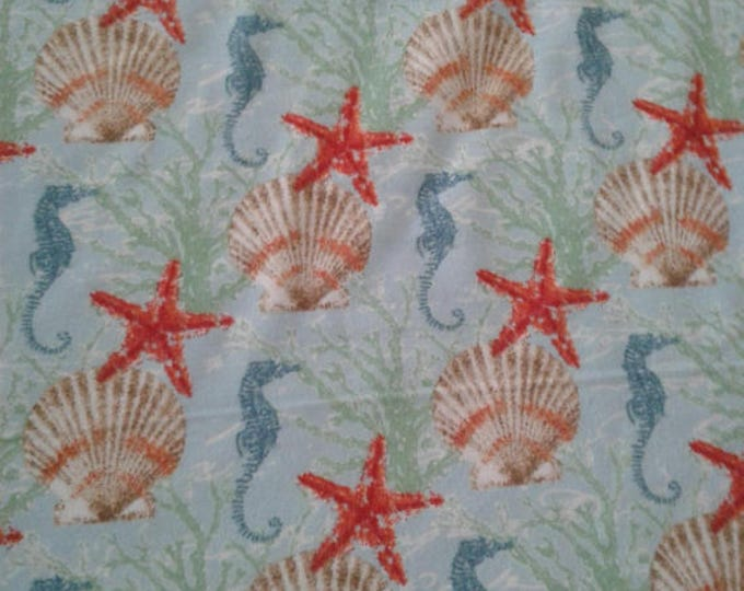 Seahorses Flannel Fabric by the Yard