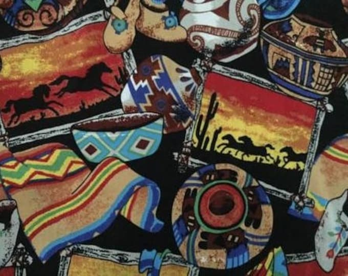 Native American Sunset Cotton Fabric by the Yard