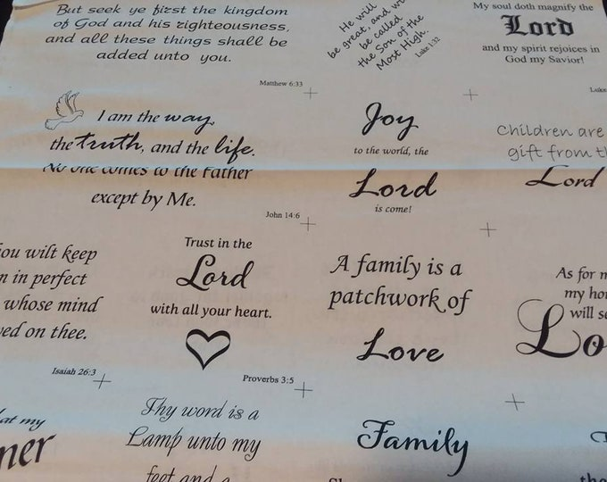 Faith Inspirational Words Cotton Fabric by the Yard