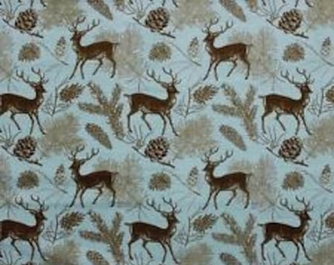 Deer and Pinecone Flannel Fabric by the Yard