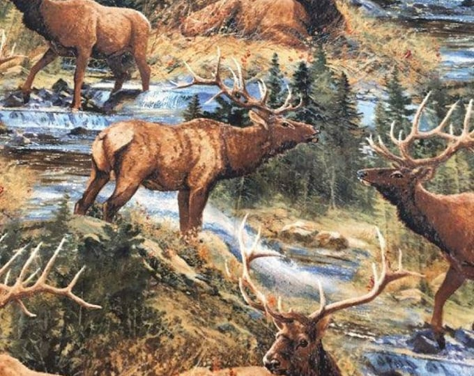 Elk by River Cotton Fabric by the Yard