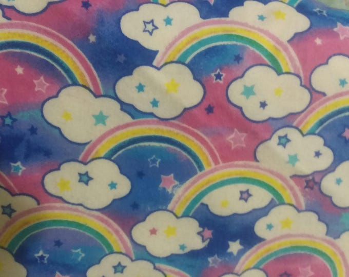 Rainbows Flannel Fabric by the Yard