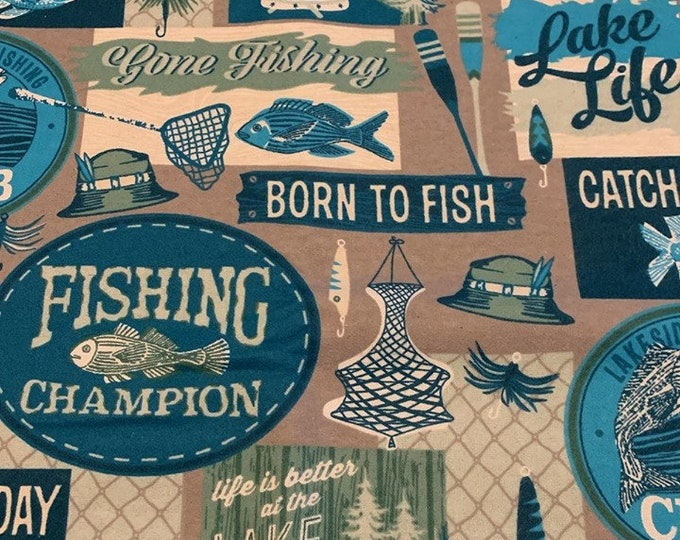 Fly Fishing Flannel Fabric by the Yard