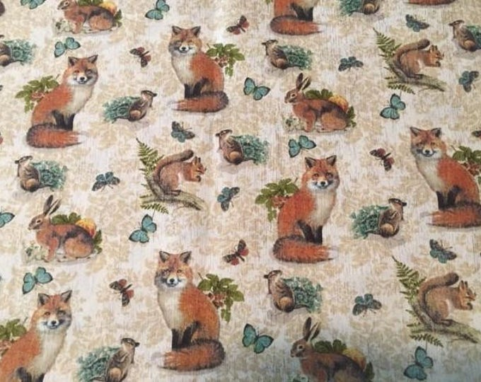 Fox Cotton Fabric by the Yard