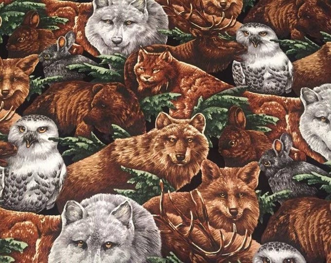 Wildlife Collage Cotton Fabric by the Yard