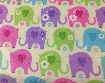 Elephants Flannel Fabric by the Yard