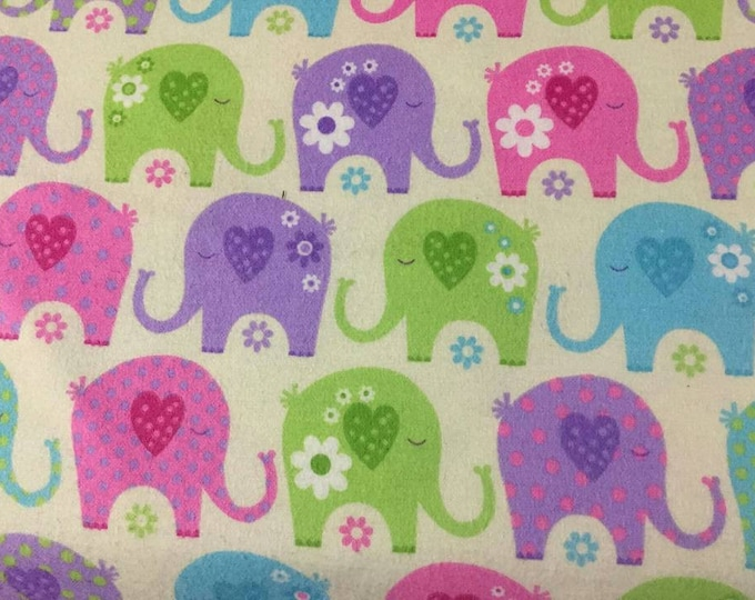 Elephants Flannel Fabric by the Yard