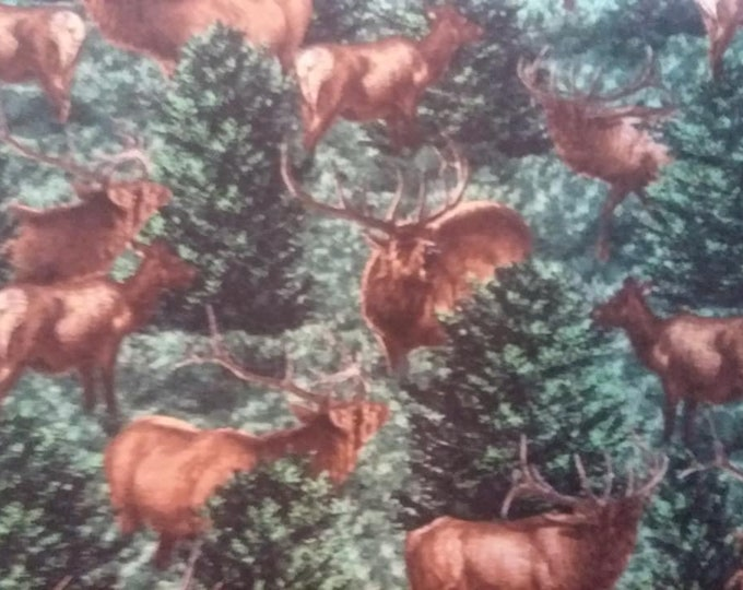 Elk in Trees Cotton Fabric by the Yard