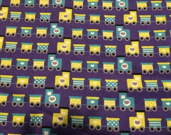 Trains Purple Flannel Fabric by the Yard